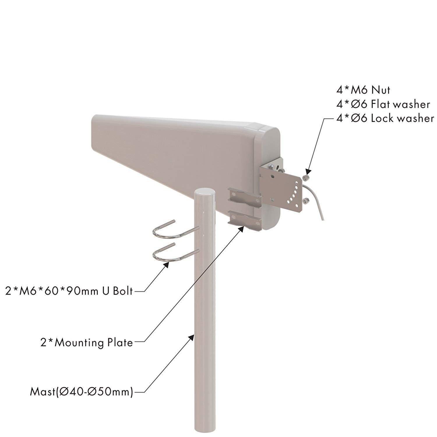Tupavco TP545 Yagi Directional Roof Antenna 3G/4G/LTE Wide Band 11dBi 700MHz to 2.7GHz Range 2FT Cable w/ 2FT RP-SMA Male Cable to TS-9 Adapter - Cell Phone Signal Booster Log Periodic Cellular by Tupavco
