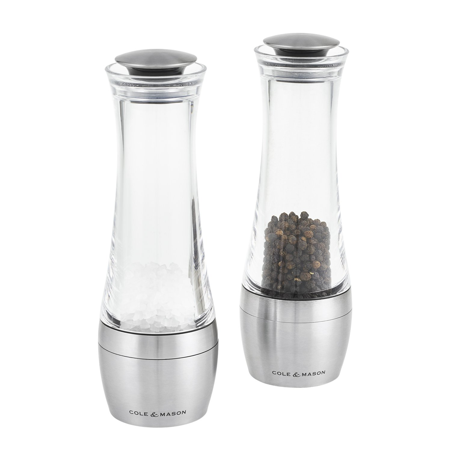 COLE & MASON Amesbury Salt & Pepper Grinder Set - Gourmet Precision Stainless Steel Mills with Adjustable Grinder Cole and Mason H308798PU