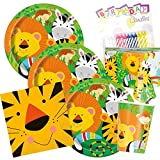 Jungle Animal Kids Party Plates Napkins Cups Serves 16 With Candles