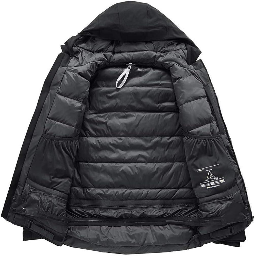 LJLYL Herren-Loser Winter Lang Hinunter Mantel, 90% Weiße Ente Daunenparka Puffer Jacke, Mit Kapuze Wasserdicht Winddicht Daunenjacke Black
