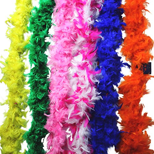 Fun central (BC712) Rainbow Feather BOA - 6ft Assorted - (Buy Feather Boa)
