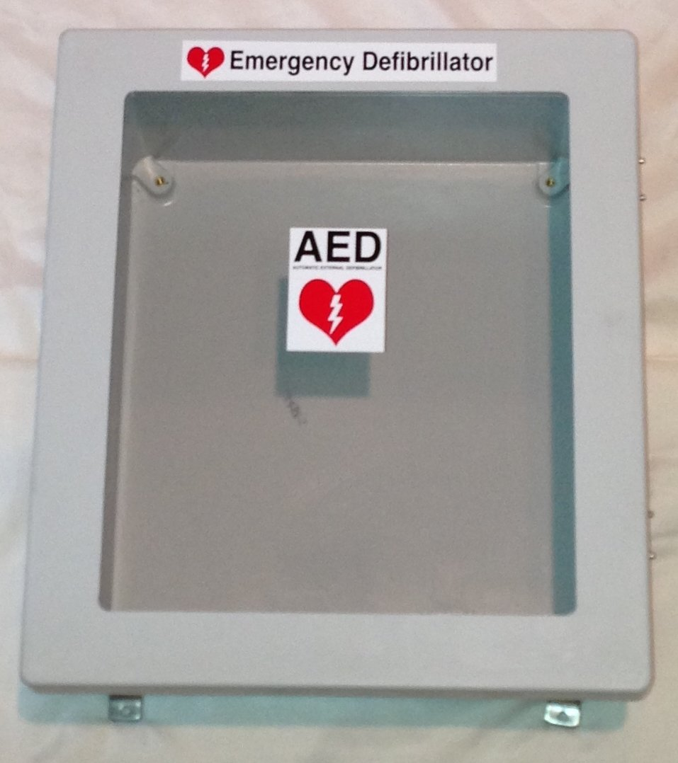 Defibrillator AED Cabinet Enclosure Box with Window - Weather Resistant Waterproof / LARGER ENCLOSURE FITS ALL MODELS (Inside Dimensions of 14'' Tall x 12'' Wide x 6'' Depth)
