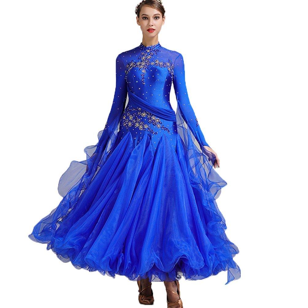 YuLin 社交ダンスドレス 女性用 滑らか モダン ワルツ タンゴ 競技用ドレス 長袖 刺繍 パフォーマンスコスチューム ロイヤルブルー XX-Large