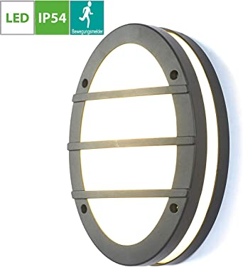 Led Outside Wall Light With Motion Sensor Flush Mount Round Ceiling Lights Ip54 Weatherproof Outdoor Wall Lamp Black Aluminum External Wall Mounted Bulkhead Lighting Fixture Warmweiß Amazon Co Uk Lighting