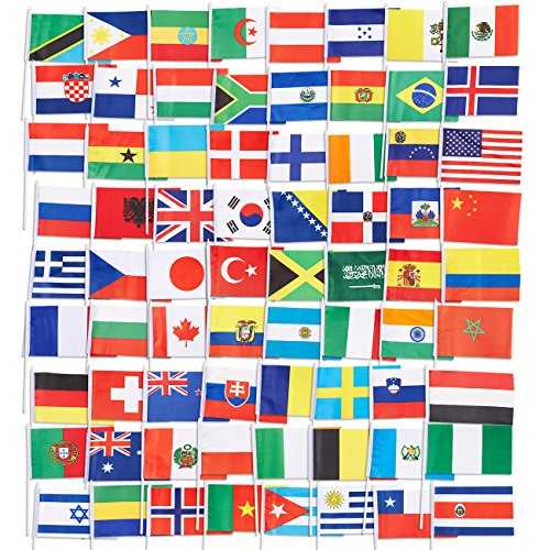 Juvale 72-Pack of Country Flags - International Flags of the World, Party Decorations, 72 Different Countries, Assorted Colors, 7.5 x 5.2 Inches by Juvale