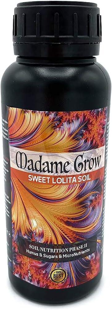 MADAME GROW / Abono Orgánico para Cultivar Marihuana o Cannabis/Sweet Lolita Soil/Fertilizante Rico en Azúcares y Humus/Mas Microelementos/Energía/Alimento/Mejor Sabor (500 ml)