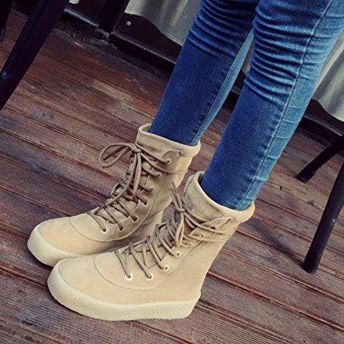 Transer® Damen Schnee Stiefel & Stiefeletten Herbst/Winter Warm Schuh Wildleder+Kunststoff (Bitte achten Sie auf die Größentabelle. Bitte eine Nummer größer bestellen. Vielen Dank!) Khaki