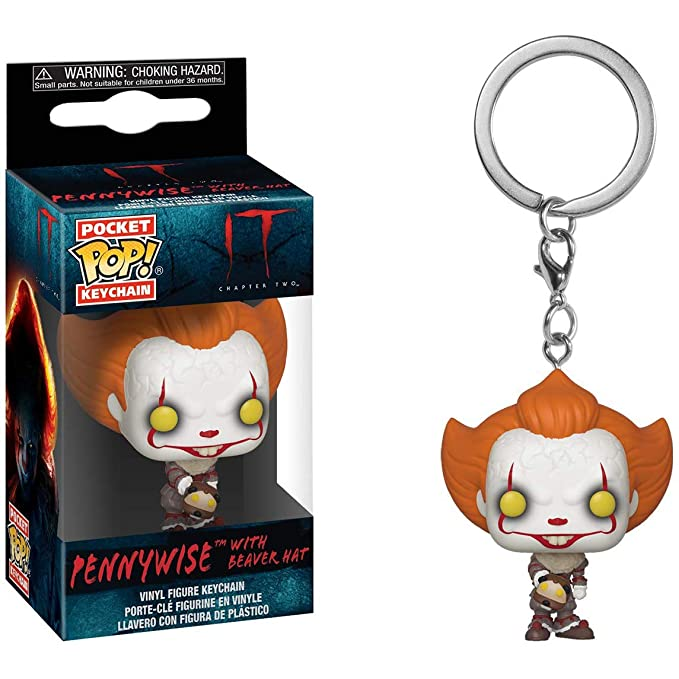 Funko Pennywise with Beaver Hat Pocket Pop Mini-Figural Keychain & 1 Classic Horror Movies Trading Card Bundle (40651)