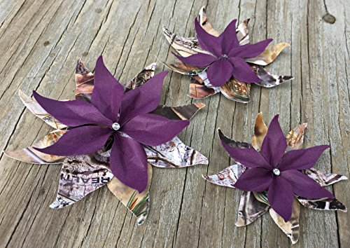 Rustic Realtree and Deep Purple Set Of 3 Paper Layered Rhinestone Bling Flower Wedding Decoration Favor Card Making from Bella Supply Boutique
