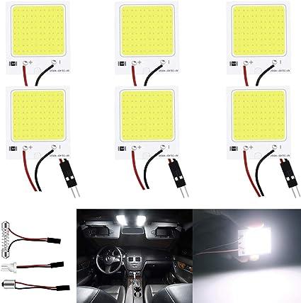 JAVR - Pack de 6 luces LED de 300 lúmenes COB 48-SMD 12 V CC para