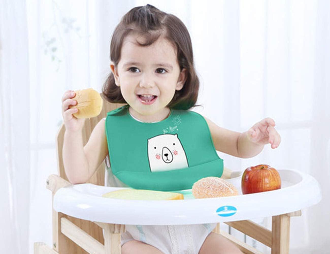 C/ómodo Babero para Beb/é Ni/ños Flexible Babero Beb/é KEEZSHOP Babero impermeable de Silicona con Amplia Alimentos Crumb Catcher Bolsillo Unisex Ajustable