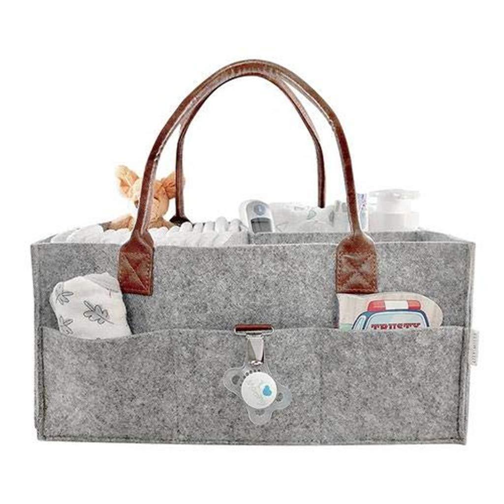 Gray BOLUOYI Diaper Caddy Organizer,Portable Felt Wool Cotton Large Baby Diaper Caddy Tote Organizer Bag and Storage Wipes