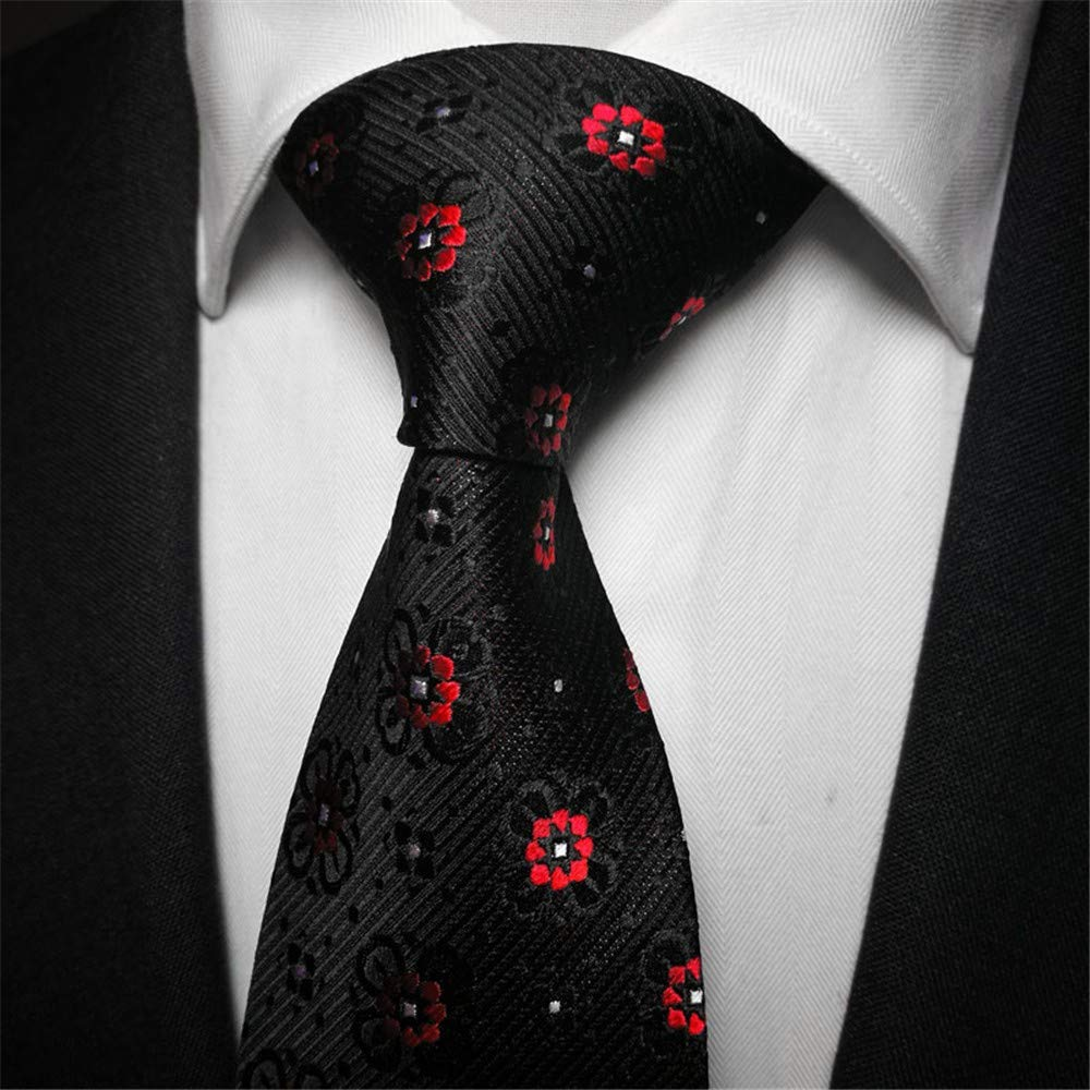 WUNDEPYTIE Corbata De Seda De Punto Rojo Y Negro para Hombres Ropa ...