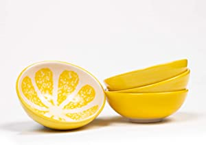 Cute Hand-Painted Fruit Designed Ceramic Small Bowls For Ice Cream Snack Cereal Dessert Condiment Charcuterie Sushi Rice Sıde Dishes - Prep Serving Breakfast Bowls - Set of 4 - Best Gift Idea - Yellow