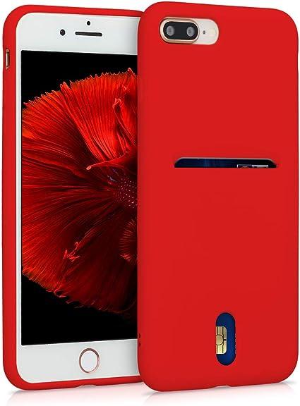 Custodia iPhone 7 Plus Gomma con Retro in Similpelle Colore Rosso