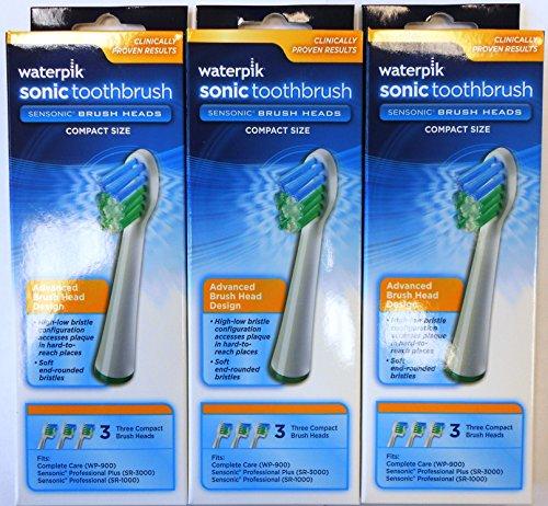 Waterpik SRSB-3W Sensonic Replacement Toothbrushes , 9-Count