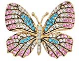 Gyn&Joy Multi-color Crystal Rhinestone Winged Butterfly Pin Brooch BZ030 (pink)