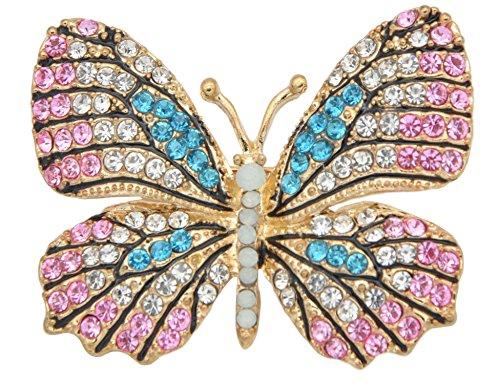 Multi Color Butterfly Brooch (Gyn&Joy Multi-color Crystal Rhinestone Winged Butterfly Pin Brooch BZ030 (pink))