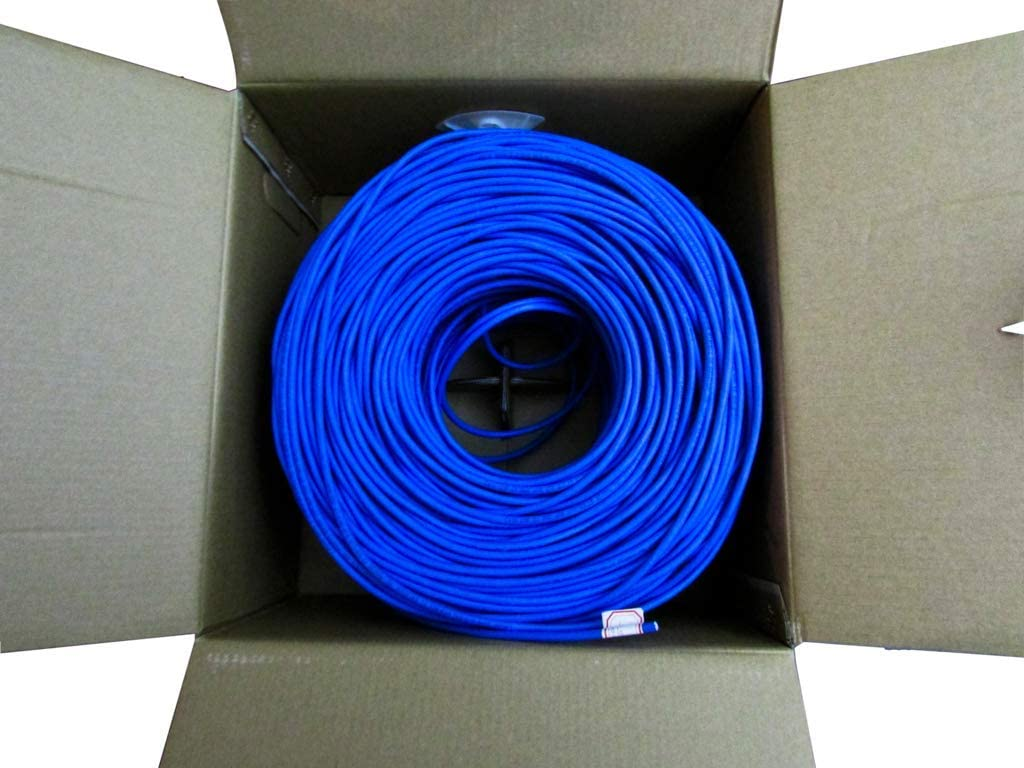 US Network Cables Cat6 Plenum 1000FT 550MHz Solid Bulk UTP 23AWG Network Cable Blue