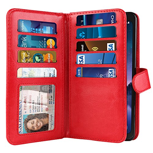NEXTKIN Galaxy S8 ACTIVE Case, Leather Dual Wallet Folio TPU Cover, 2 Large Pockets Double flap Privacy, Multi Card Slots Snap Button Strap For Samsung Galaxy S8 ACTIVE G892A 5.8 inch - Red