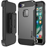 Trianium iPhone 7 Case [Duranium Series] Heavy Duty Ultra Protective Hard Cover Shock Absorption w/ Built-in Screen Protector+ Holster Belt Clip Kickstand for Apple iPhone 7 2016 -Gunmetal (TM000181)