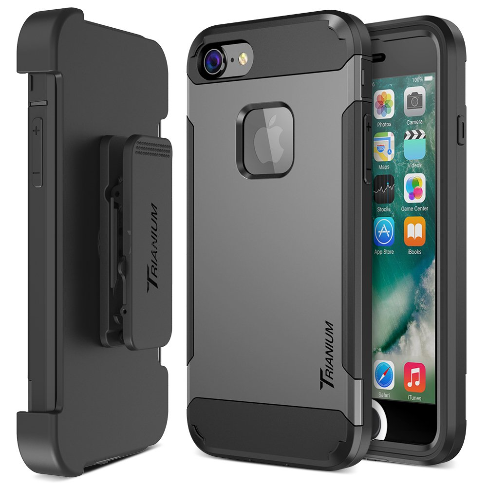 Trianium iPhone 7 Case [Duranium Series] Heavy Duty Ultra Protective Hard Cover Shock Absorption w/Built-in Screen Protector+ Holster Belt Clip Kickstand for Apple iPhone 7 2016 -Gunmetal (TM000181) by Trianium