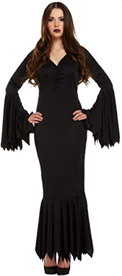 Mujer Sexy Negro Largo Vampiro Morticia Familia Addams Disfraz ...