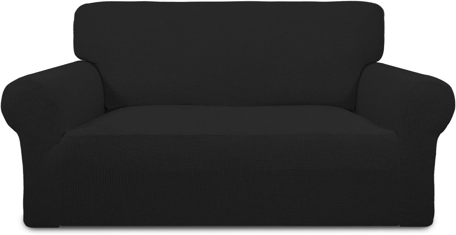 Easy-Going Stretch Sofa Slipcover 1-Piece Sofa Cover Furniture Protector Couch Soft with Elastic Bottom Anti-Slip Foam Kids, Spandex Jacquard Fabric Small Checks(loveseat,Black)