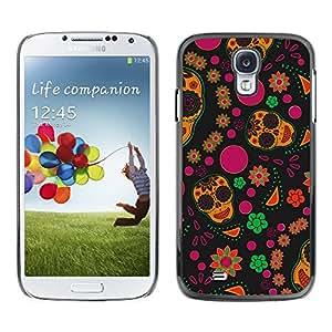 Qstar Arte & diseño plástico duro Fundas Cover Cubre Hard Case Cover para SAMSUNG Galaxy S4 IV / i9500 / i9515 / i9505G / SGH-i337 ( Wallpaper Flowers Colorful Skulls Happy Hippie)