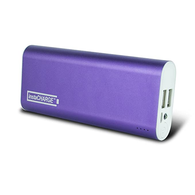 instaCHARGE 8800mAh Dual USB Power Bank Portable Battery Charger - Purple