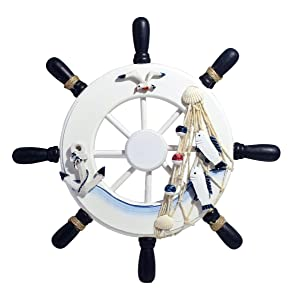 "Nautical Mediterranean Handcrafted Wooden Ship Wheel 9"" Pirate Decor - Steering Wheel for Home, Boats, and Wall Hanging Decorative Ship Accessory for Kids Bedroom/Bathroom/Guest Room - Blue and White"