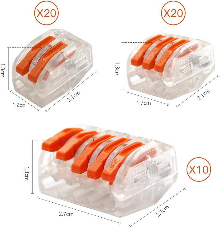 2,3 et 5 Entr/ées Borne de Connexion Rapide de Fil Connecteurs Electriques de 50 Pi/èces 3 Types