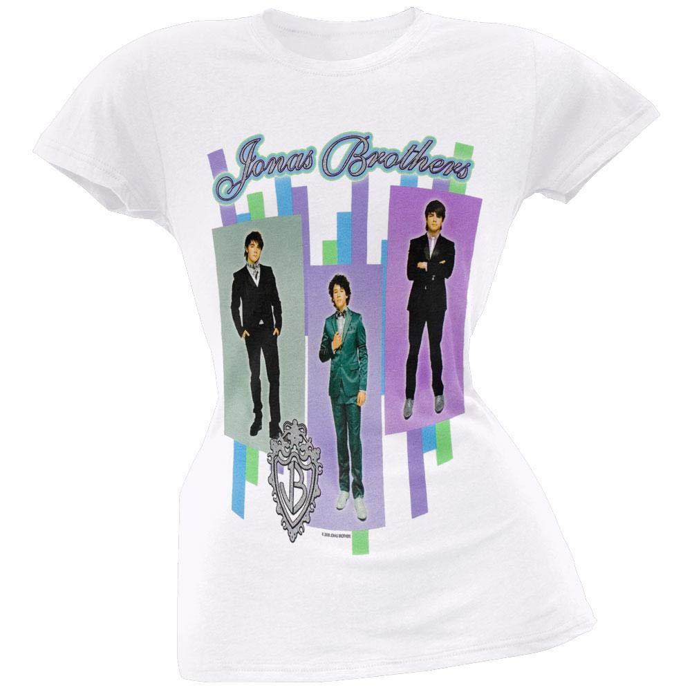 f3b4751da Jonas Brothers - Group Stripe Juniors T-Shirt at Amazon Women's Clothing  store: