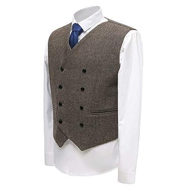 Amazon.com: Chaleco formal de hombre con doble pecho, traje ...