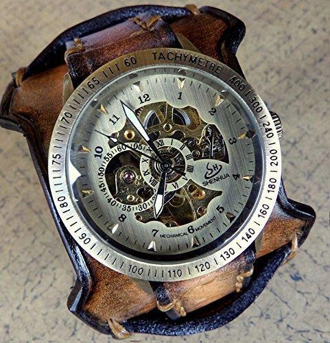 Antique Brown Leather Watch, Steampunk Watch, Leather Cuff, Watch Cuff,  Menu0027s Leather