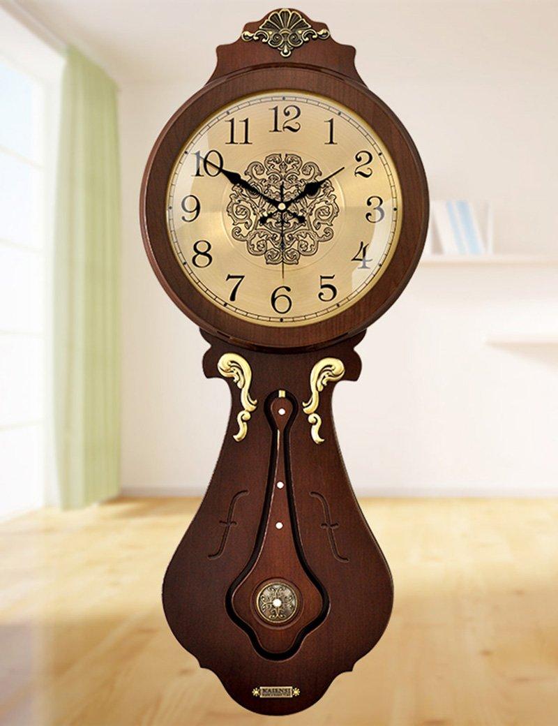Cai 置き時計掛け時計-レトロガラス時計木製サウンドミュート壁時計ヨーロッパのリビングルームラグジュアリークリエイティブクォーツウォールクロック(サイズはオプション) ( 色 : B-12 Inches ) B07C5DV396 B-12 Inches B-12 Inches