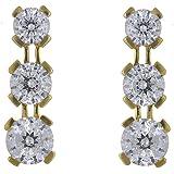 Ivy Gems 9ct Yellow Gold 1.5ct Finest 100 Cut Cubic Zirconia Triple Drop Earrings