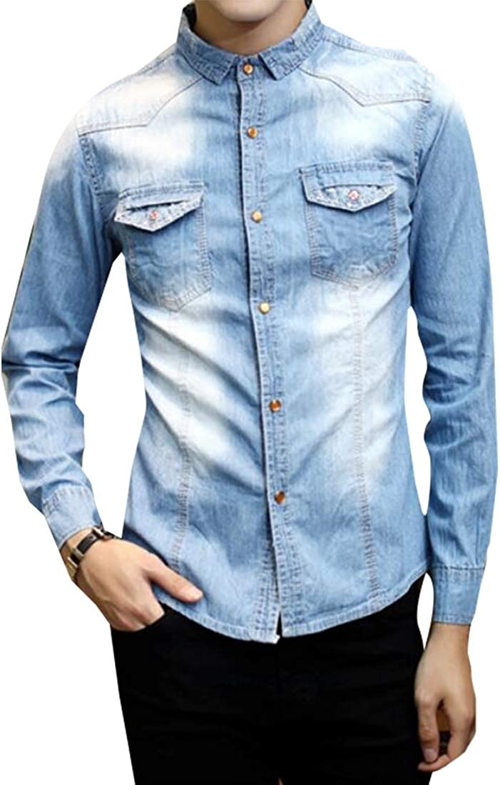 Miracle Mens Casual Slim Denim Shirt Dress Shirt Button Down Double Pocket Shirt
