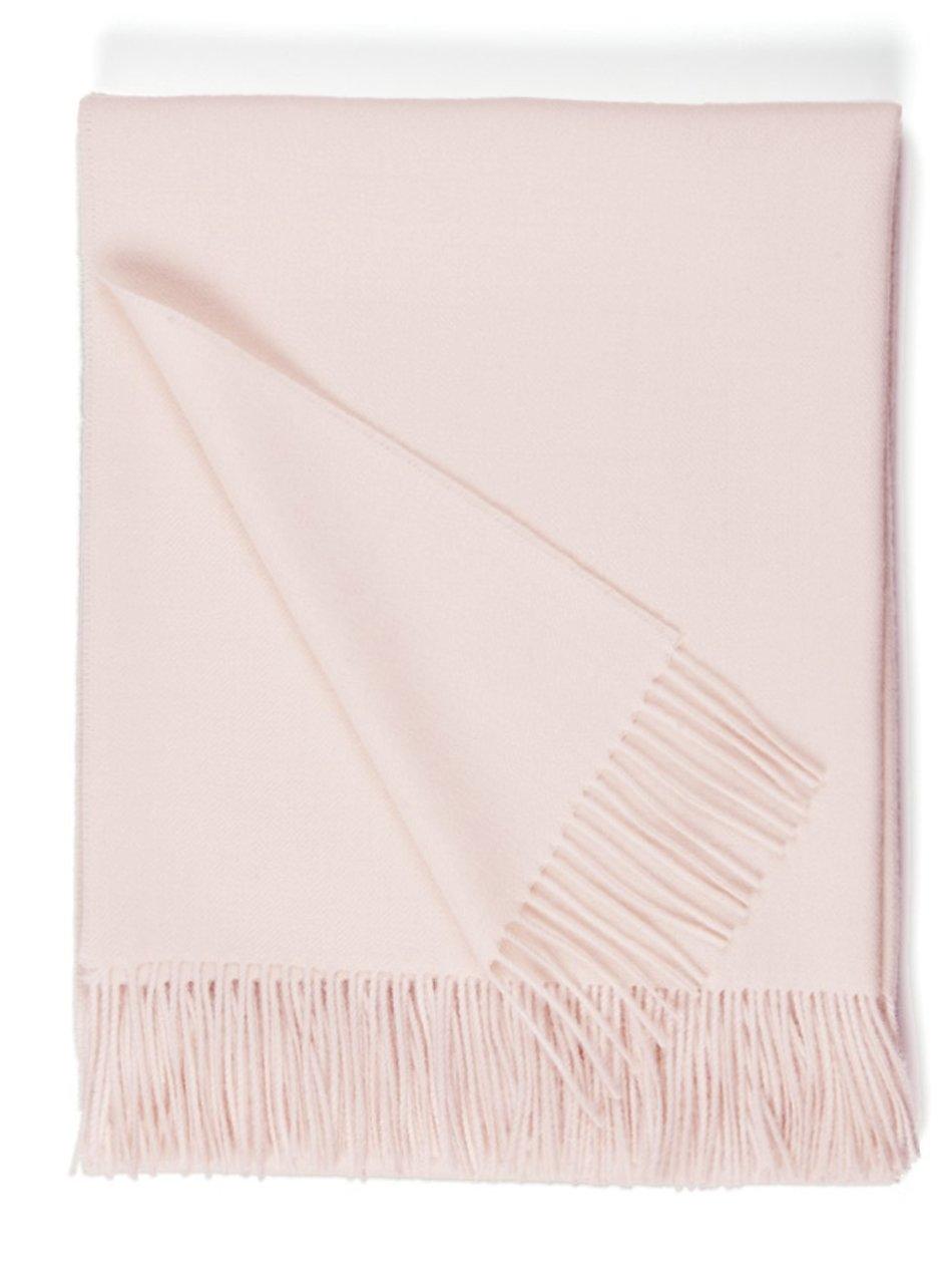 100% Pure Premium Baby Alpaca Eco Sofa Throw Blanket, Solid 71'' X 51'' (Sea Shell)
