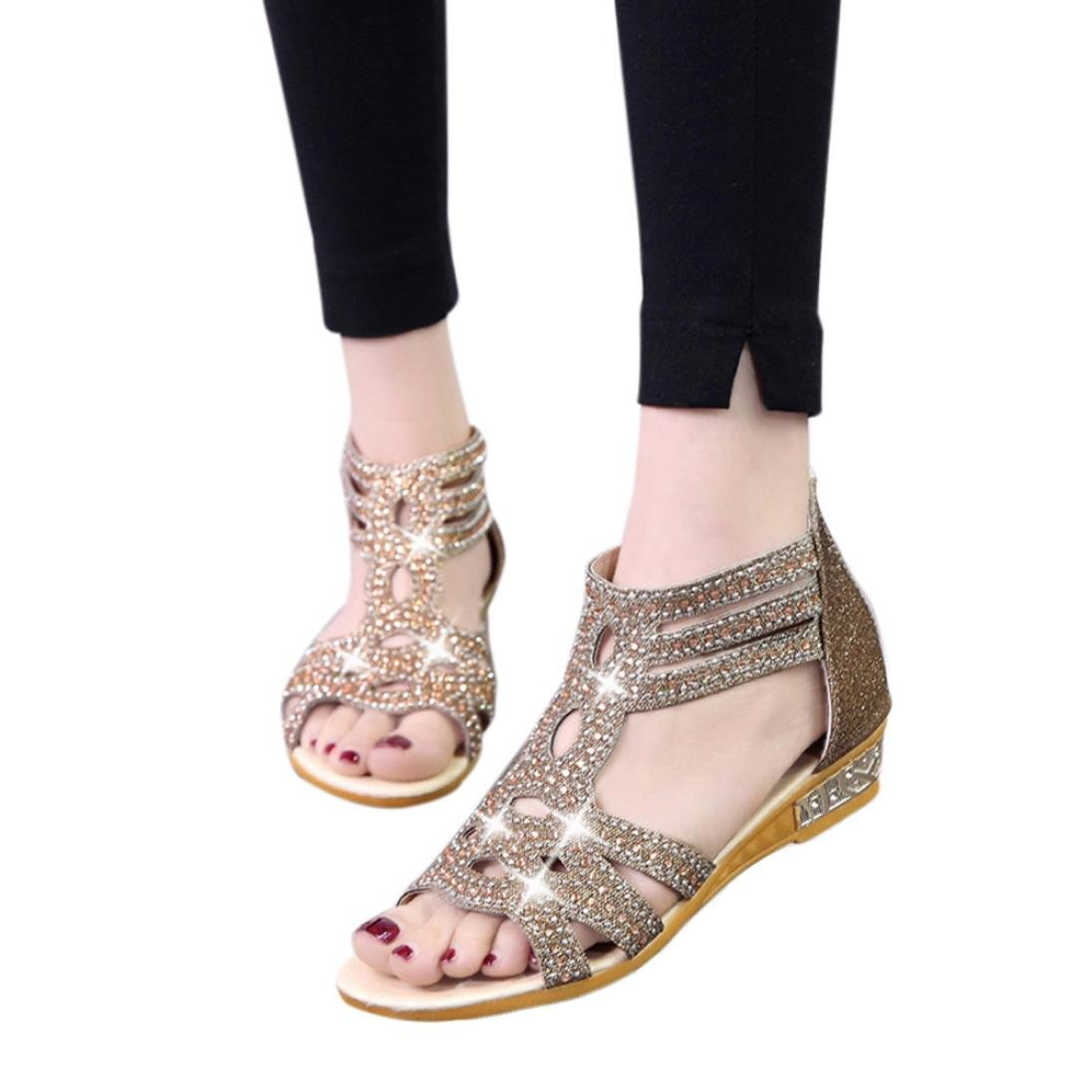 Sommer Sandalen,Resplend Frauen Sandalen mit Keilabsatz Mode Hollow Fisch Mund Hohl Roma Schuhe Gladiator Casual Sandalen Flip-Flop Schuhe39(Asian39=EU38)|Golden