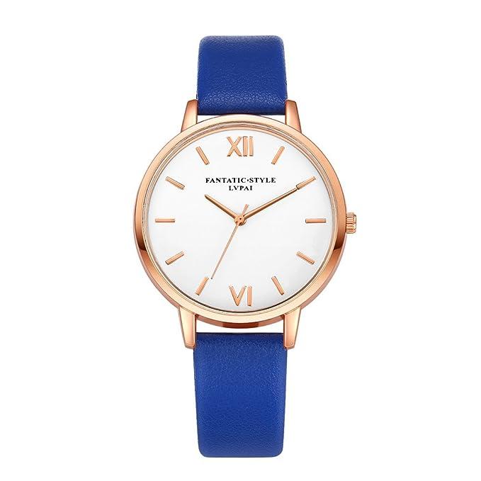 DressLksnf_Reloj Color Puro Lujo Moda para Mujer Pulsera Banda de Reloj Casual Ajuste Acero Inoxidable Durable Correa de Cuero Digital Clásico Simple: ...