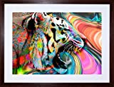 PHOTO PAINTING TRIPPY RAINBOW TIGER FRAMED PICTURE ART POSTER PRINT F12X8279