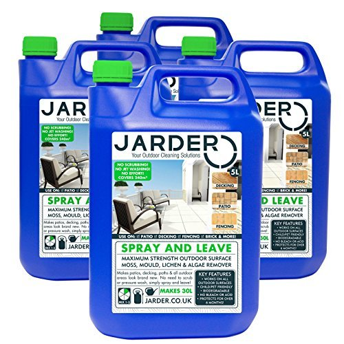 4 x 5 Litre Concentrate Jarder Spray & Leave Cleaner - Patio Fencing Decking - Moss Mould & Algae Killer by Jarder Spray & Leave