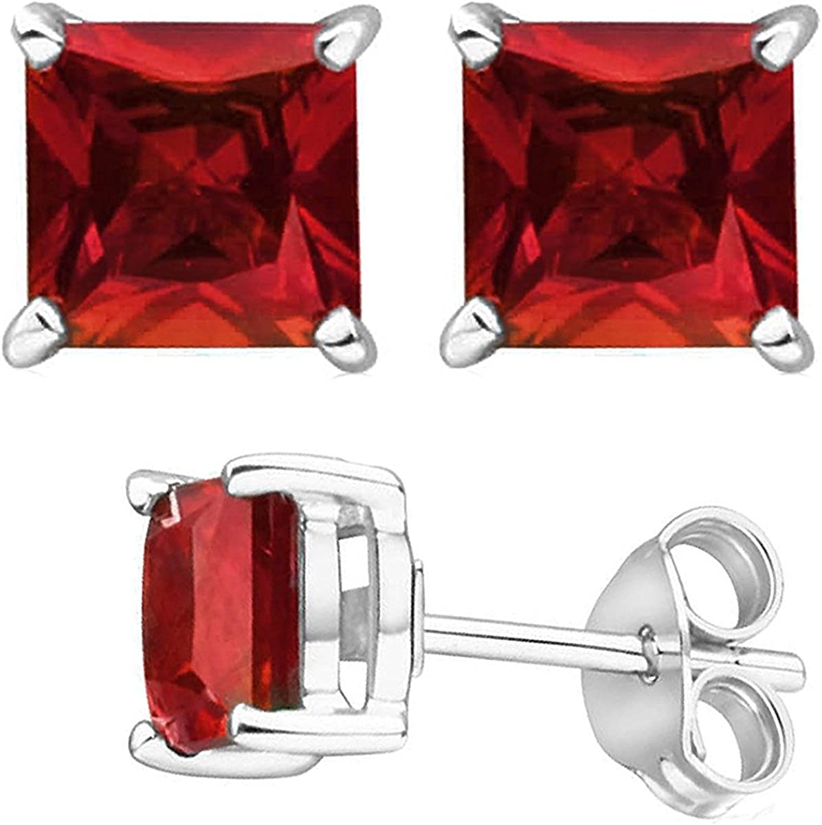 Unique Sterling Silver 925 Princess Simulated Ruby Red Cz Stud Earrings 2.00 Carat