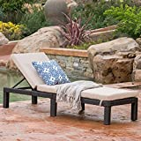 Venice Patio Furniture ~ Outdoor Wicker Chaise Lounge Chair (Brown and Beige)(Single) For Sale