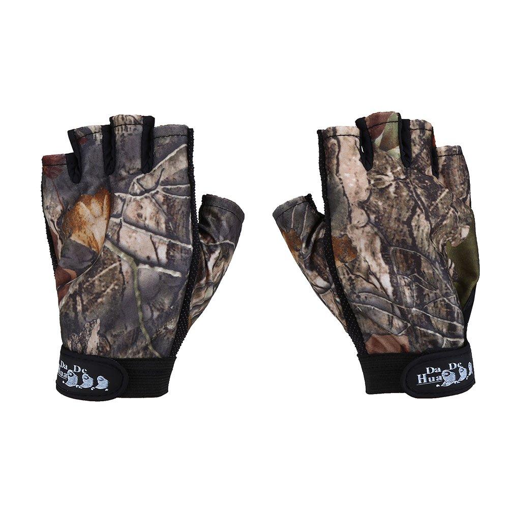 eecoo Guanti da pesca senza dita, guanti impermeabili da pesca Guanti da sole uomini donne per kayak, escursionismo, paddling, guida (1 paio)(Camouflage)