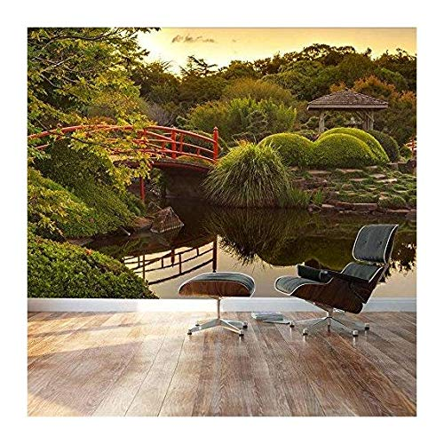Japanese footbridge and garden Landscape Wall Mural