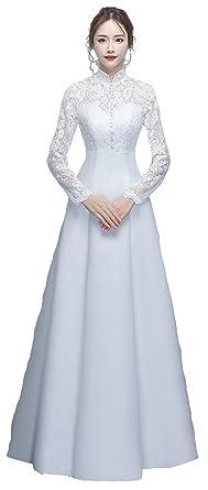09402bbe2979f4 ウエディングドレス ハイネック ロングスリーブ Aライン レース 純白 クラシカル 花嫁衣裳 (XS) [