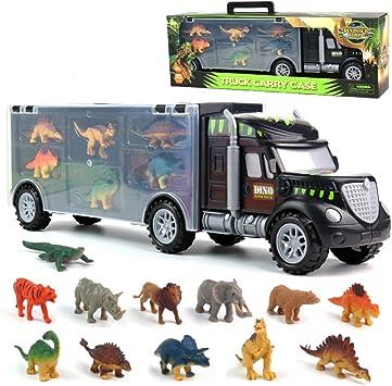 Dinosauri Macchinine Giocattolo per Bambini Camion del Trasportatore Giocattoli del Camion con 6 Mini Dinosauri e 6 Animali Giocattoli per Bambini 3 4
