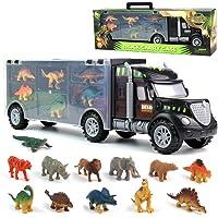 Dinosaurio del Juguete Camión de Transporte Transportador Coches con 12 Figuras de Juego de Dinosaurios de Dinosaurio…
